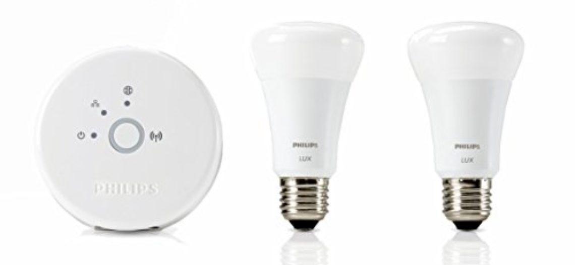 [Bon Plan Philips HUE Philips Hue Kit de Démarrage LUX de 2 Ampoules LED connectées + Pont de Connexion Pilotable via smartphone