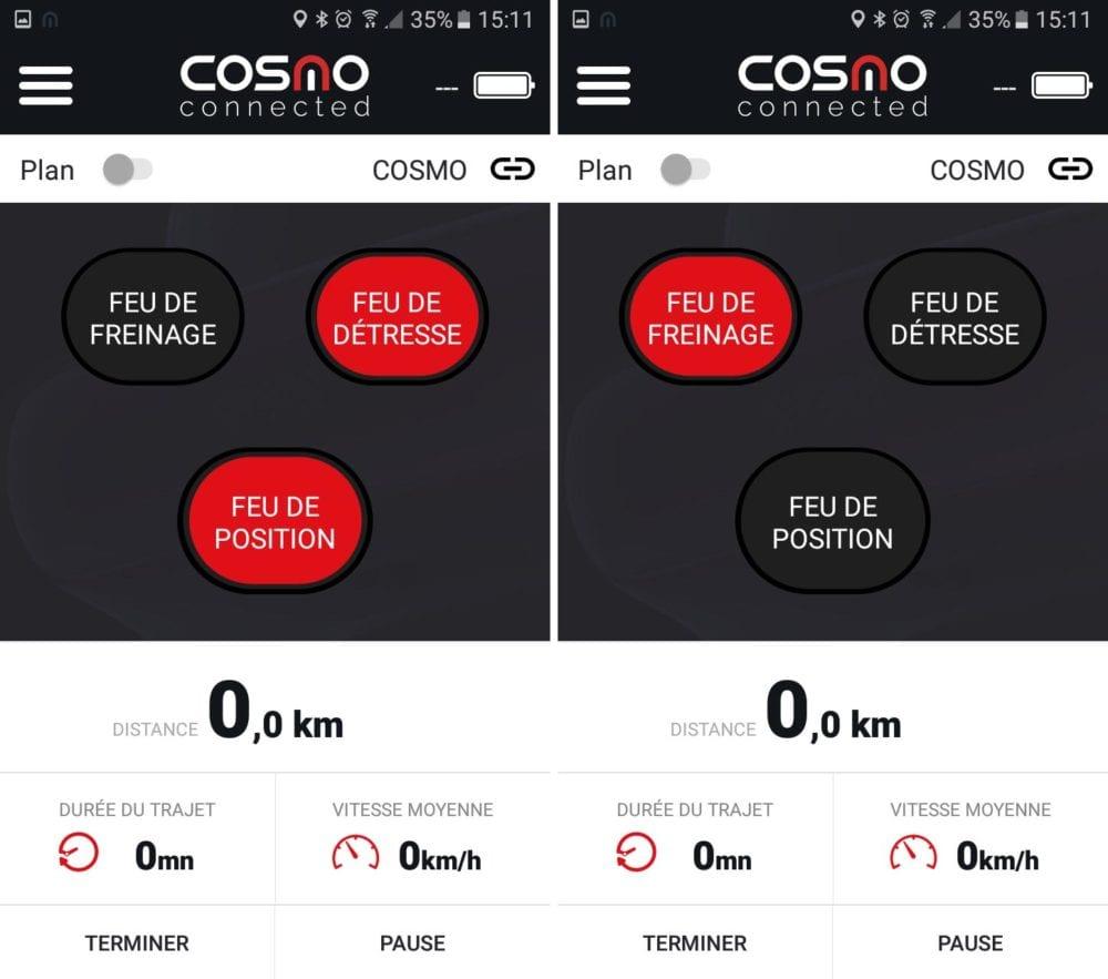 21 Test du feu de freinage Moto connecté Cosmo
