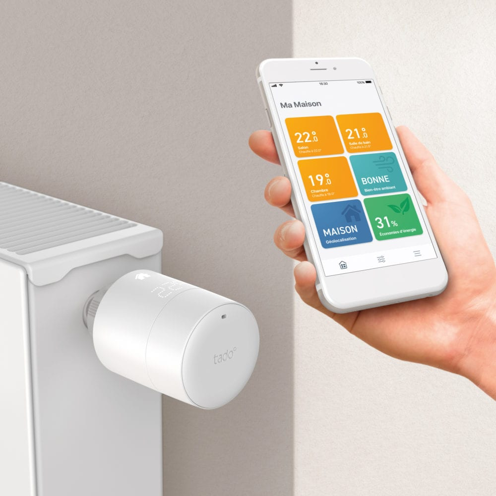 tado-tete-thermostatique-intelligente-horizontal-and-app-1000x1000 Nouveaux Thermostats Intelligents tado° V3+ pour un air plus sain et plus de confort
