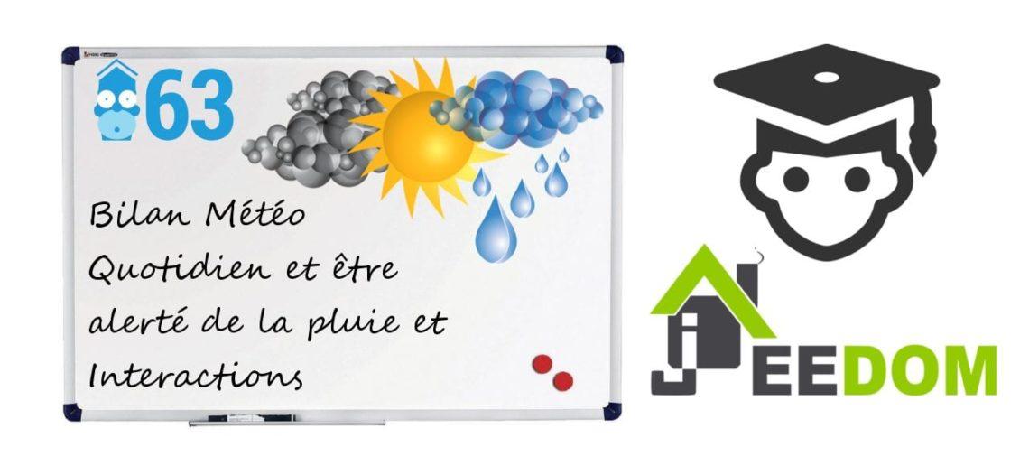 """Notre Veille : Bilan Météo Quotidien et être alerté de la pluie et Interactions Jeedom<span class=""""wtr-time-wrap block after-title""""><span class=""""wtr-time-number"""">1</span> min de lecture pour cet article.</span>"""